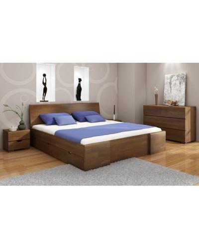 Borovicová posteľ Hessler High so zásuvkami