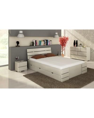 Borovicová posteľ Sandemo High + zásuvky